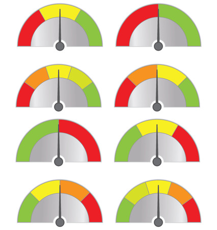 environmental issues: collection of speedometers button isolated on white (vector illustration) Illustration