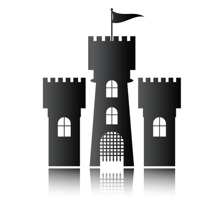 chateau: Castle icon isolated, vector illustration Illustration