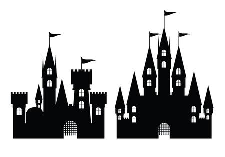 Collectie van het kasteel op een witte, vector illustratie