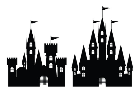 Collection of castle isolated on white, vector illustration