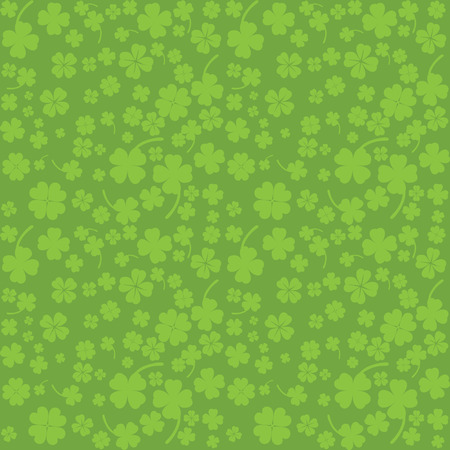Green background with four leaf clovers, St  Patrick Vector
