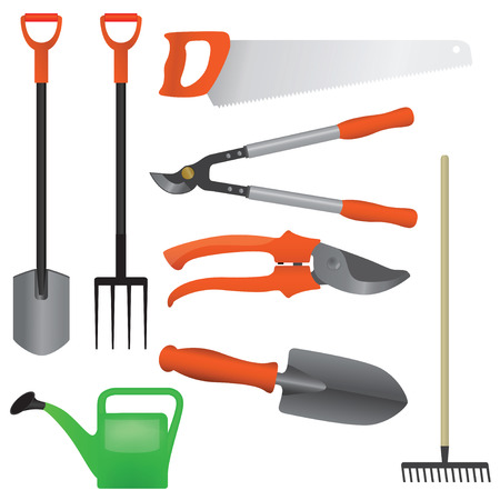 Collection of gardening tools, vector illustration Illustration