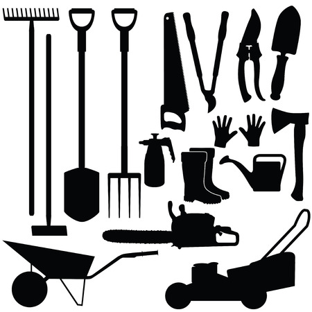 lawnmower: Silhouettes of gardening tools, vector illustration