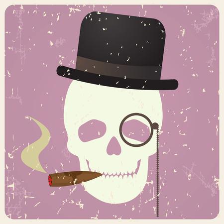 bowler hats: Vintage gentleman skull, vector illustration