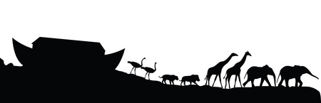 Noah's ark and animals isolated on white, vector illustration