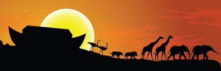 Arca de Noé y la puesta del sol en el fondo, ilustración vectorial Vectores