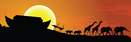 camelopard: Noahs ark and sunset in background, vector illustration Illustration