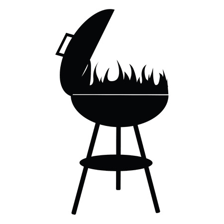 barbecue fire: silhouette of BBQ isolated on white , vector illustration