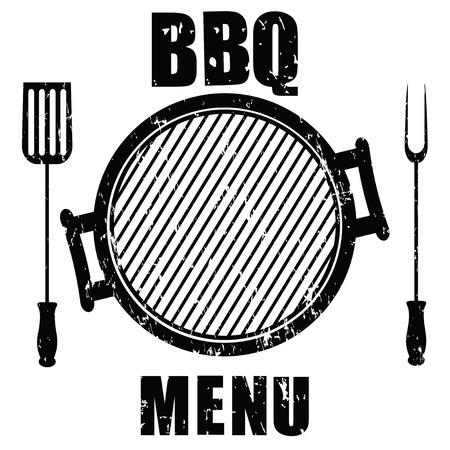 Grunge grill menu geïsoleerd op wit, vector illustratie