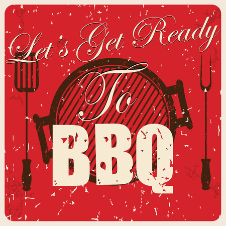 bbq party: Vintage BBQ card, vector illustration