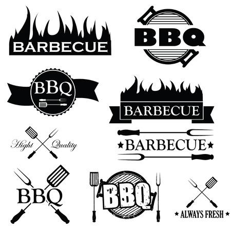 chorizos asados: Conjunto de iconos de barbacoa aisladas en blanco, ilustraci�n vectorial