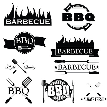 Set of bbq icons isolated on white , vector illustration