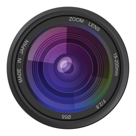 proffesional: Camera photo lens, vector illustration