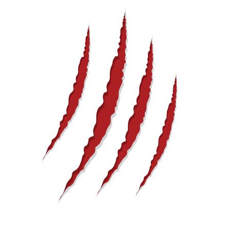 garra: garra arañazos aislados en blanco, ilustración vectorial Vectores