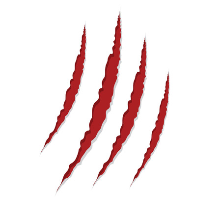claw scratches isolated on white , vector illustration