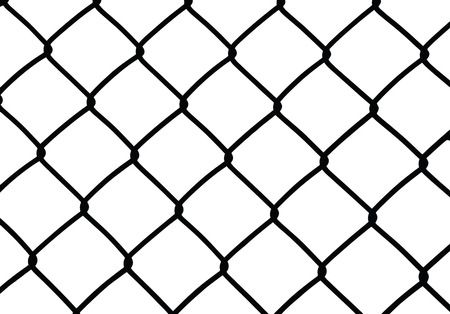 chain link: Silhouette of wired fence isolated on white, vector illustration Illustration