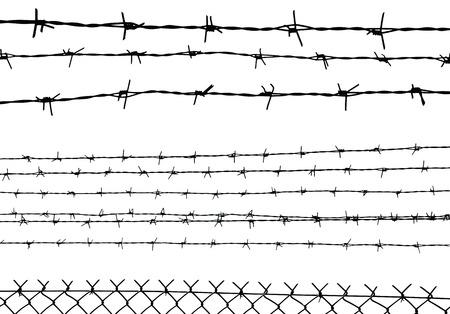 fil de fer: silhouette des barbelés isolé sur fond blanc, illustration vectorielle