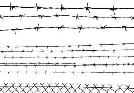 wire fence: silhouette of the barbed wire isolated on white, vector illustration