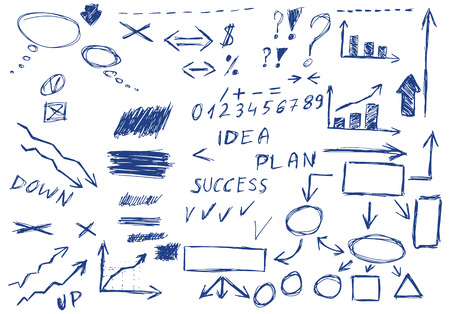sketchy illustration: Set of hand drawn business elements, vector illustration