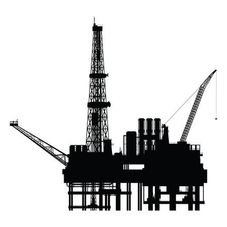 Silhouet van de olie-platform, vector illustration Stock Illustratie