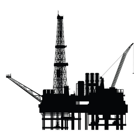 drilling machine: Silhouette of oil platform, vector illustration