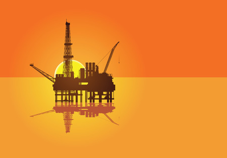 Illustration of oil platform on sea and sunset in background Vector
