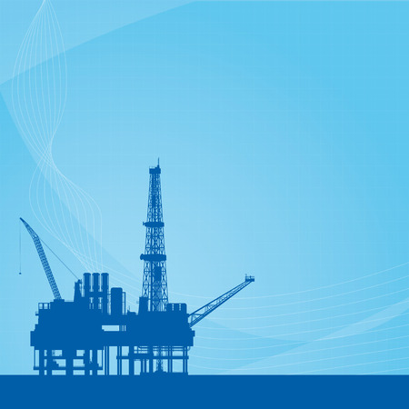 oil and gas industry: Blue vector background with oil platform Illustration