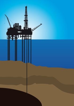 Olieplatform op zee, vector illustratie