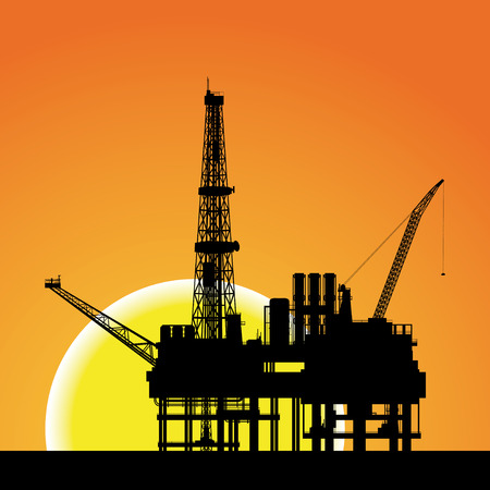 Illustration of oil platform on sea and sunset in background, vector