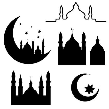 Abstract arabische elementen geïsoleerd op een witte achtergrond, illustratie Stock Illustratie