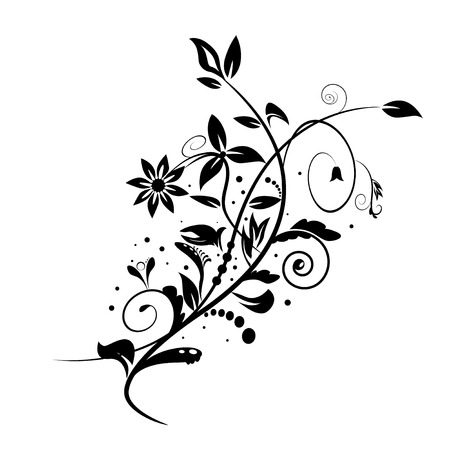 black and white plant: Abstract floral shape isolated on white background Illustration