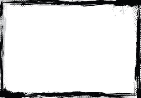 Grunge frame in black and white, vector illustration