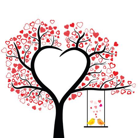 feuille arbre: oiseaux aiment la conception sur fond blanc, illustration vectorielle