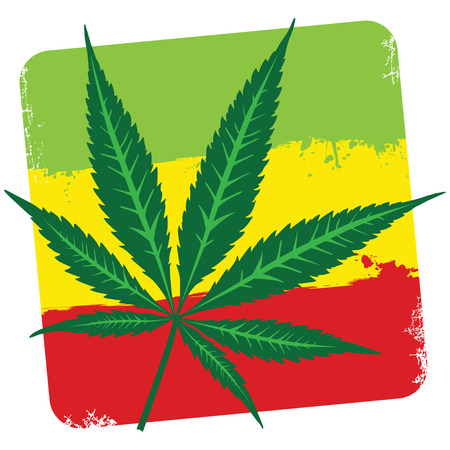 Leaf of cannabis (marijuana) and flag of Ethiopia isolated on white. Vector illustration.  Vector