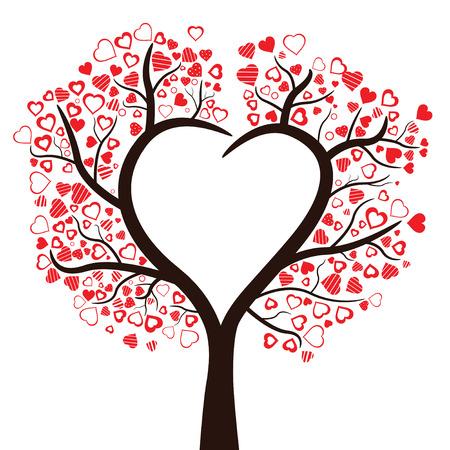 Árbol con corazones aislados, ilustración vectorial