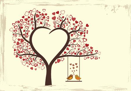 birds love design in vintage style, vector illustration