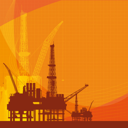 Orange vector background with oil platform