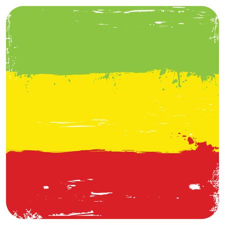 ethiopia flag: Grunge background with flag of Ethiopia isolated on white. Vector illustration.