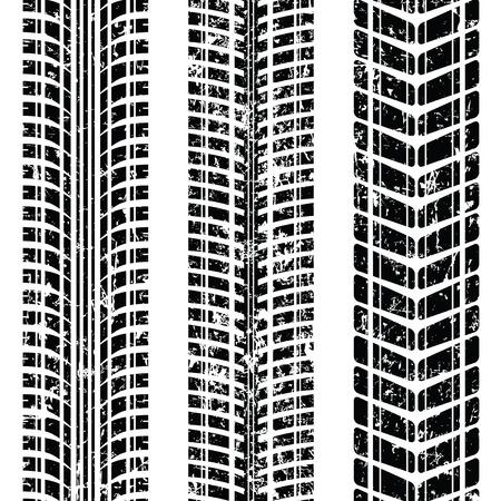 Set van drie autoband spoor geïsoleerd op wit, vector illustratie