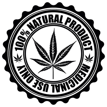 thc: Stamp with marijuana leaf emblem. Cannabis leaf silhouette symbol. Vector illustration