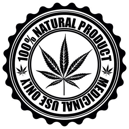 Stamp with marijuana leaf emblem. Cannabis leaf silhouette symbol. Vector illustration