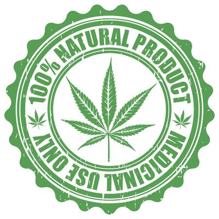 Grunge sello con hoja de marihuana emblema. Símbolo, silueta, hoja de cannabis. Ilustración vectorial
