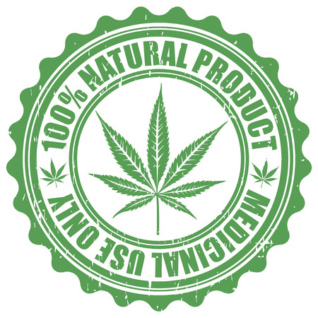 Grunge stamp with marijuana leaf emblem. Cannabis leaf silhouette symbol. Vector illustration Illustration