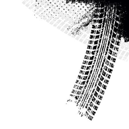 huellas de neumaticos: Fondo con la pista grunge neumático negro, ilustración vectorial Vectores