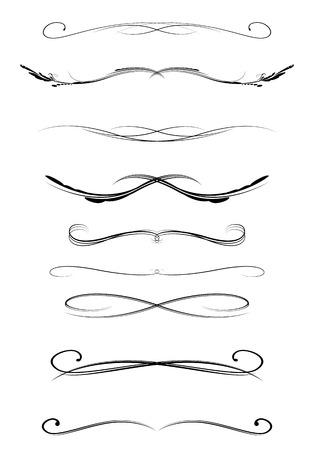 Insieme di linee calligrafiche divisori, illustrazione vettoriale Archivio Fotografico - 29860924