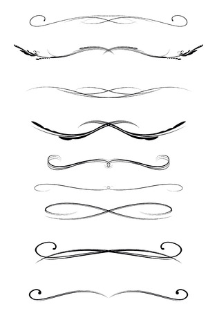 set of calligraphic lines dividers, vector illustration Çizim