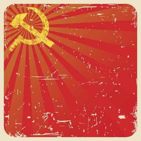 hammer and sickle: Grunge soviet background with hammer and sickle, vector illustration Illustration