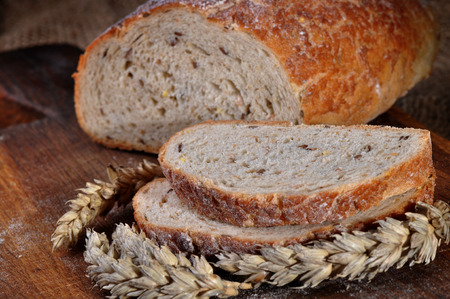 Close-up of traditional homemade bread photo
