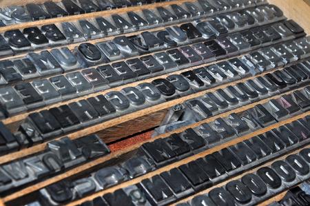 typeset: Old printing press typeset. Typography typeset. Stock Photo