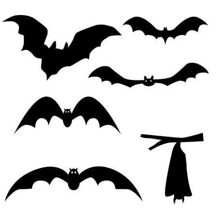 suck blood: Collection of bats isolated on white background, vector illustration